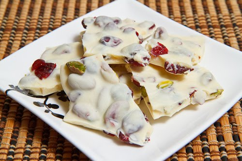 Cranberry and Pistachio White Chocolate Bark