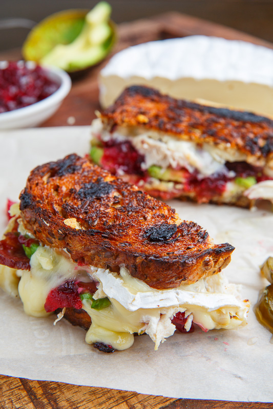 Cranberry and Brie Turkey Grilled Cheese with Avocado and Bacon