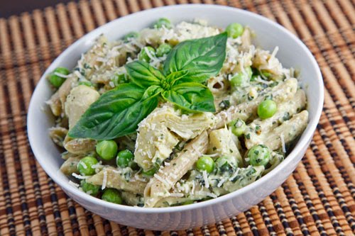 Creamy Pea and Artichoke Pesto Pasta Salad