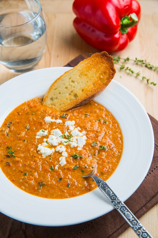 Creamy Roasted Red Pepper and Cauliflower Soup with Goat Cheese
