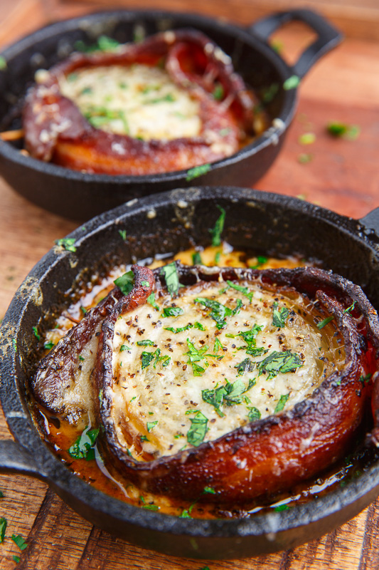 Creamy Asiago Bacon Wrapped Roasted Onions