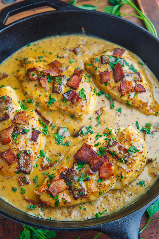 Creamy Bacon Honey Dijon Skillet Chicken