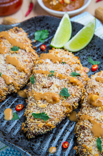 Crispy Baked Thai Peanut Sauce Coated Chicken