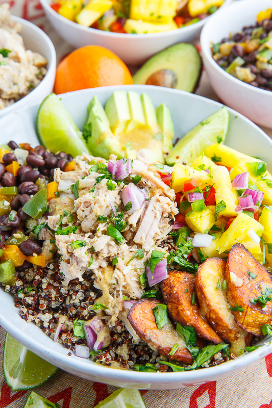 Cuban Mojo Pulled Pork Quinoa Bowls with Pineapple Salsa