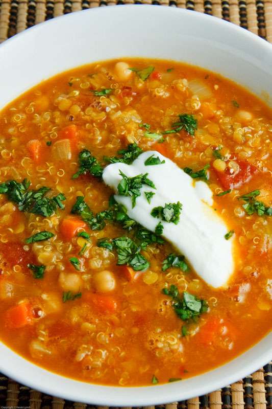 Curried Red Lentil Soup with Chickpeas and Quinoa