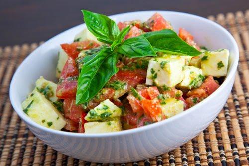 Diced Caprese Salad with a Pesto Dressing