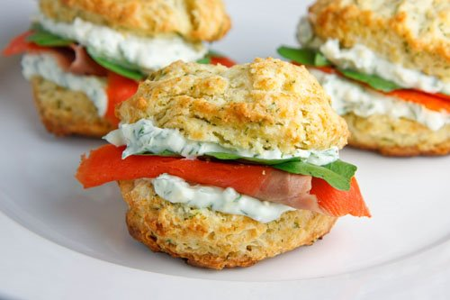 Dill Biscuits with Smoked Salmon, Watercress and a Creamy Dill Spread