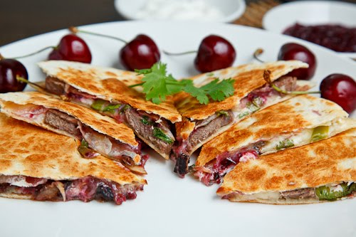 Duck Quesadillas with Chipotle Cherry Salsa and Goat Cheese