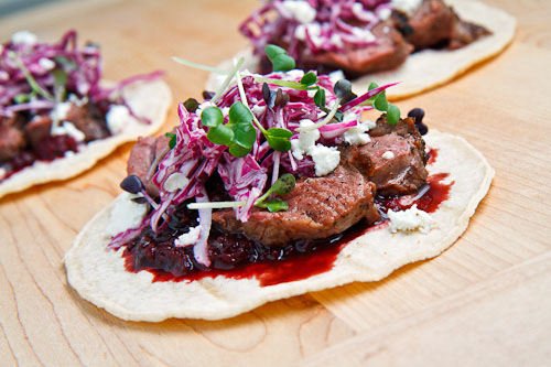 Duck Tacos with Chipotle Cherry Salsa and Goat Cheese