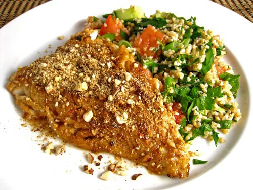 Dukkah Crusted Pomegranate Marinated Cod