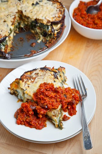 Eggplant Tortino in a Kalamata Olive Marinara Sauce