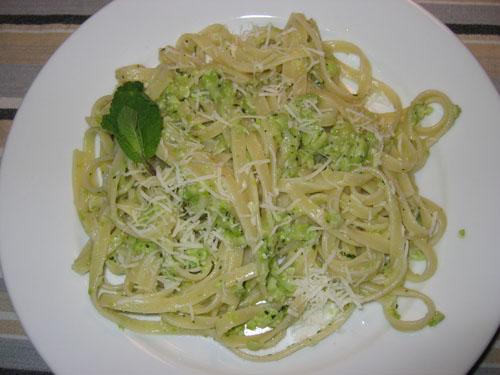 Fava Bean Pesto on Fettucini