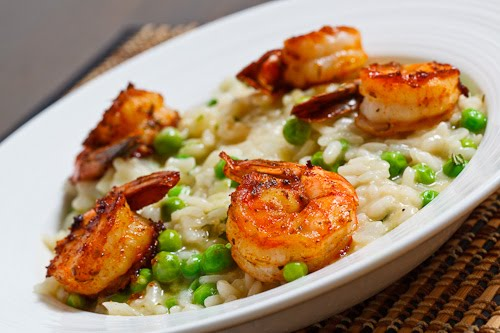 Fresh Pea Risotto with Spicy Grilled Shrimp