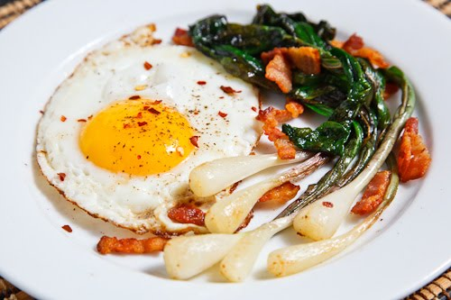 Fried Eggs with Ramps and Bacon