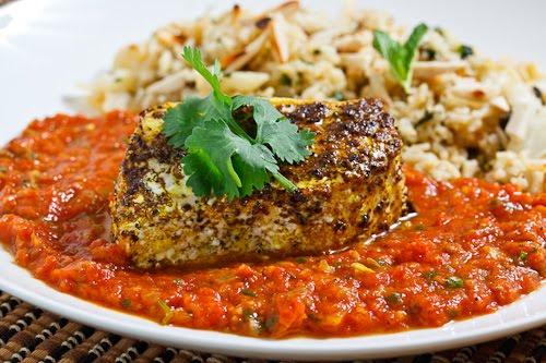 Garam Masala Roasted Halibut in a Tomato Curry Sauce