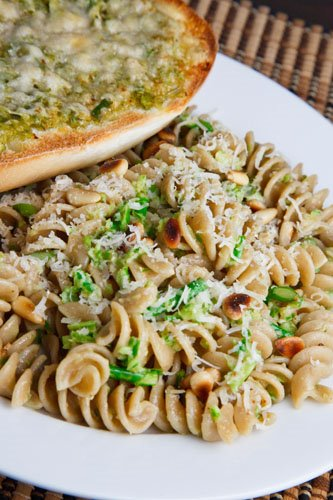 Garlic Scape Pesto on Fusilli with Garlic Scape Garlic Bread