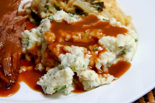 Goat Cheese Mashed Potatoes Smothered in Coffee Gravy