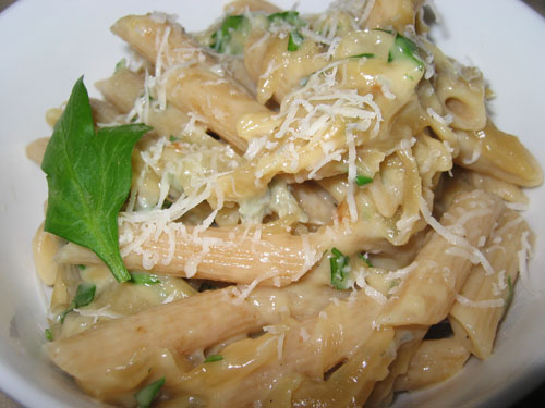 Gorgonzola and Caramelized Onion Sauce on Penne