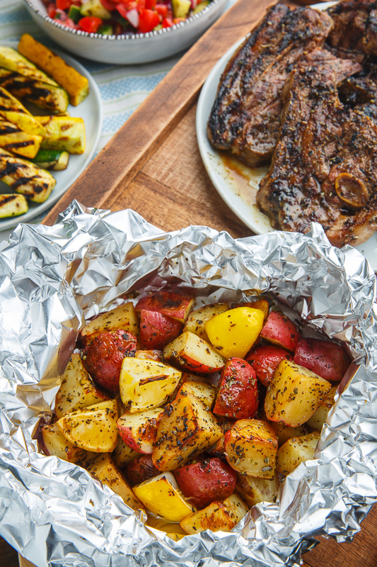 Greek Lemon Foil Roasted Potatoes