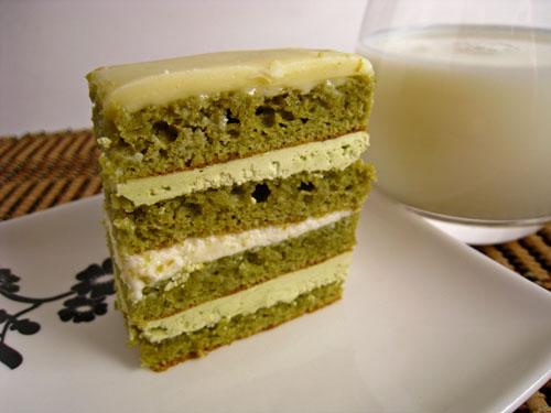 Green Tea and White Chocolate Opera Cake