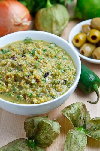 Green Olive Salsa Verde with Cilantro Lime Grilled Halibut