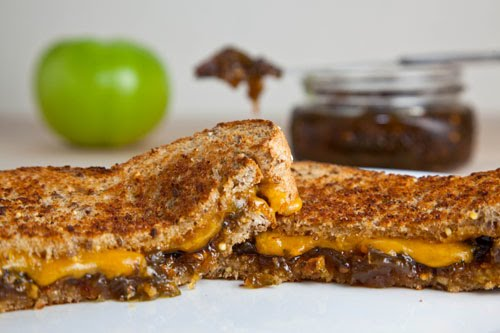 Grilled Cheese Sandwich with Green Tomato and Jalapeno Jam