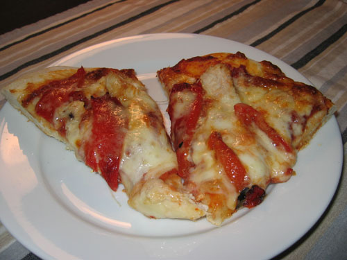 Pizza with Grilled Chicken, Roasted Red Peppers, and Asiago Cheese