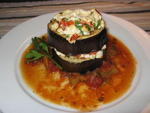 Grilled Eggplant and Goats Cheese Tower