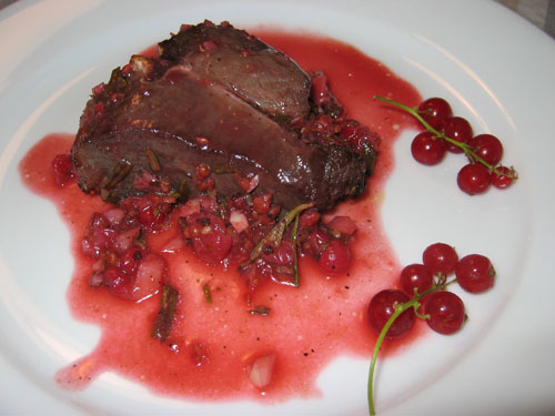 Grilled Lamb Chops in Red Currant and Rosemary Sauce