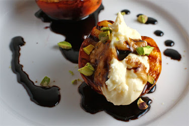 Grilled Peaches with Mascarpone and Balsamic Syrup
