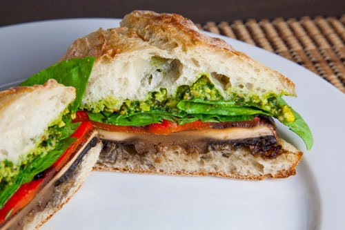 Grilled Portobello and Roasted Red Pepper Sandwich with Pistachio Pesto