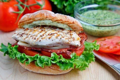 Grilled Chicken Club Sandwich with Pesto Mayo