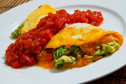 Guacamole Omelette with Salsa