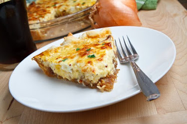Guinness Braised Onion and Aged White Cheddar Quiche