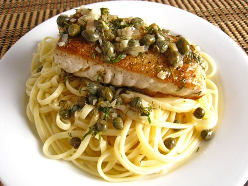 Halibut with Lemon, Butter, Caper and  Dill Sauce