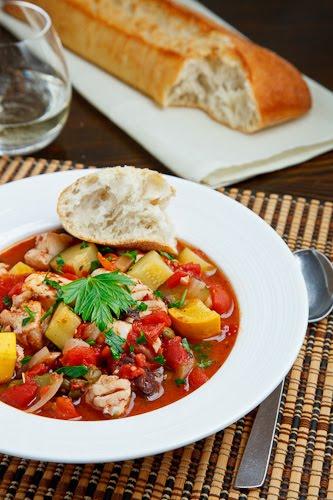Fish and Zucchini Puttanesca Stew