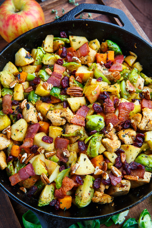 Harvest Skillet Chicken with Apples, Brussels Sprouts and Sweet Potatoes