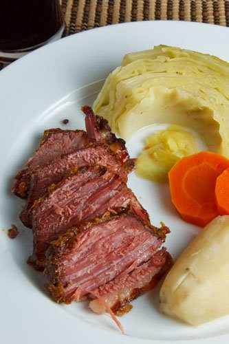 Corned Beef Glazed in Honey and Mustard Dinner with Cabbage