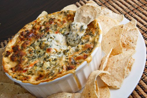 Hot Cheesy Crab, Spinach and Artichoke Dip