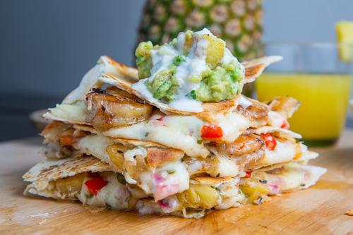 Jerk Shrimp and Pineapple Salsa Quesadillas with Pina Colada Guacamole