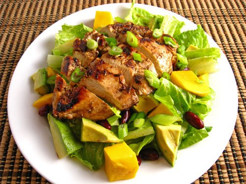 Jerked Chicken with Mango and Avocado Salad