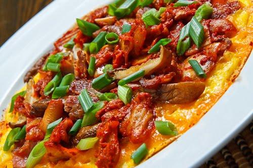 Kimchi, Bacon and Shiitake Mushroom Omelette