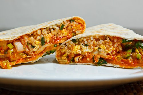 Korean Spicy BBQ Chicken and Egg Burritos