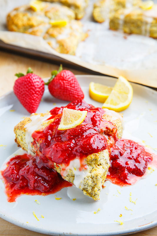 Lemon Poppy Seed Ricotta Scones with Strawberry Sauce