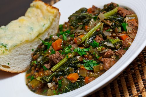Lentil Stew with Italian Sausage and Kale