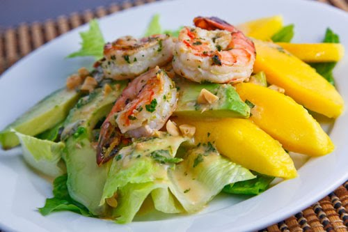 Mango, Avocado and Grilled Shrimp Salad with a Peanut Dressing