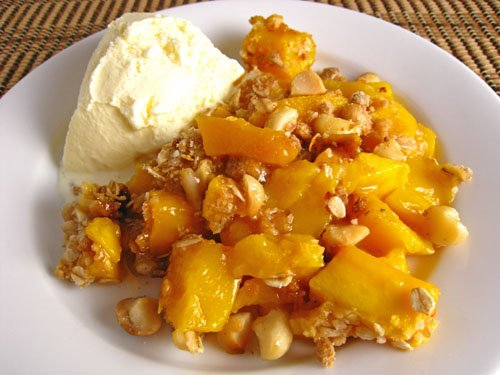 Mango Crisp with Macadamia Nut Crust