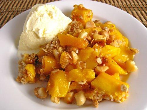 Mango Crisp with Macadamia Nut Crust