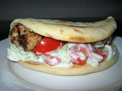 Greek Meatballs (Keftedes) in Pitas with Tzatziki