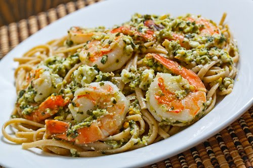 Meyer Lemon Pesto and Feta Pasta with Shrimp